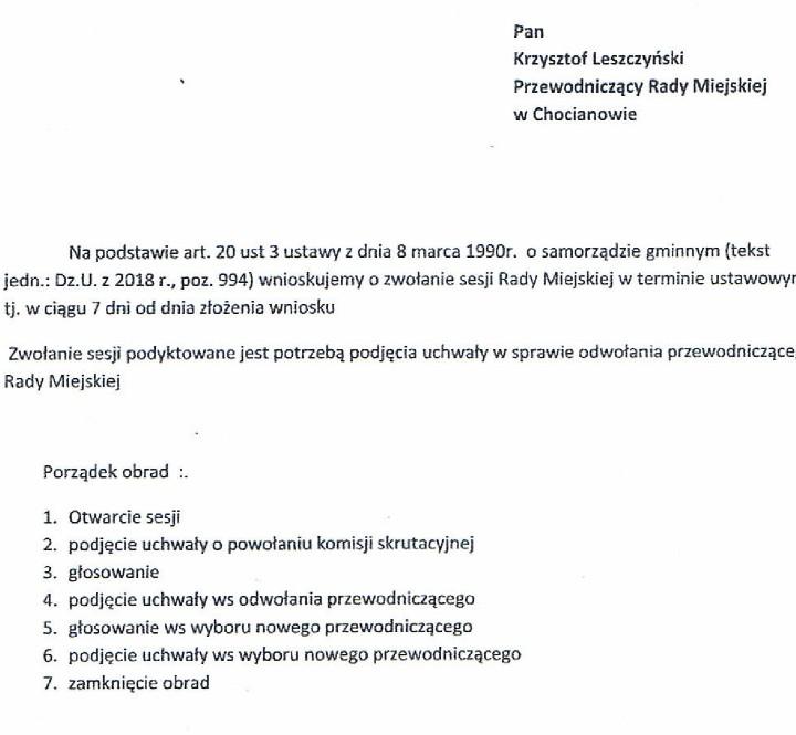 Wniosek o odwołanie Leszczyńskiego